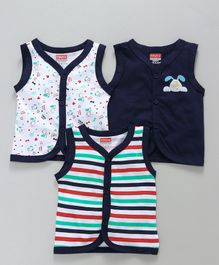 Babyhug Sleeveless Vest Puppy Print Pack of 3 - Navy