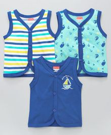 Babyhug Sleeveless  Vests Multiprint Pack of 3 - Royal Blue Sea Green White