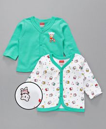 Babyhug Full Sleeves Vests Set of 2 - Sea Green White