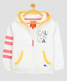 Cherry Crumble California Varsity Stripe Hoodie - White
