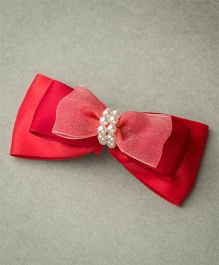 Ribbon Candy Satin Layered Bow With Beads - Red