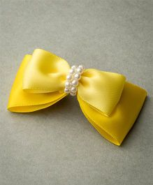 Ribbon Candy Satin Layered Bow With Beads - Yellow