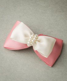 Ribbon Candy Satin Layered Bow With Beads - Champagne & Off White