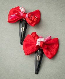 Ribbon Candy Bow With Curly Korkers - Red