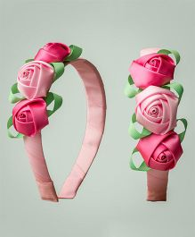 Ribbon Candy Three Rose Hairband - Baby Pink & Green