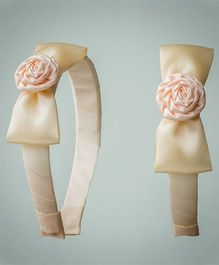 Ribbon Candy Satin Rose Hairband - Off White