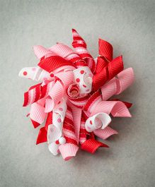 Ribbon Candy Dot & Striped Korkers Hair Clip- Hot Pink & White