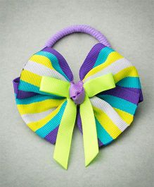 Ribbon Candy Stripe Bow Rubber Band - Purple Fluoroscent & Blue