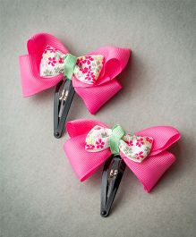 Ribbon Candy Floral Centered Double Bow Tic Tac - Pink & Mint