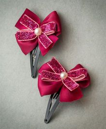 Ribbon Candy Satin & Shimmer Bow Tic Tac - Shimmer Red & Maroon
