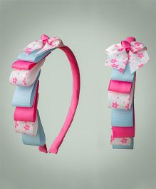 Ribbon Candy Floral Layered Hairband - Pink & Blue