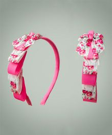 Ribbon Candy Roses & Lace Layered Hairband - Hot Pink & White