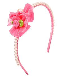 Miss Diva Double Floral With Beads Hairband - Magenta