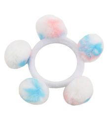 Miss Diva Super Cute Pom Pom Rubber Band - White