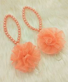 Magic Needles Barefoot Sandals Ruffle Flower - Peach