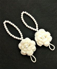Magic Needles Barefoot Sandals Crochet Flower - White