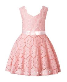 Pre Order - Awabox Net Dress With Bow - Pink