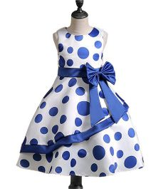 Pre Order - Awabox Polka Dot Big Bow Belt Dress - Blue