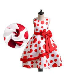 Pre Order - Awabox Polka Dot Big Bow Belt Dress - Red