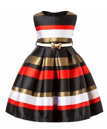 Pre Order - Awabox Striped Pattern Dress With Belt - Black