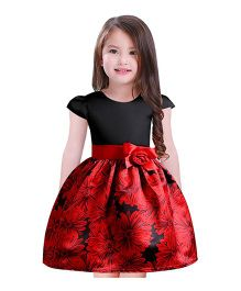 Pre Order - Awabox Big Flower Belt Dress - Black