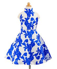 Pre Order - Awabox Flower Printed Dress - Blue