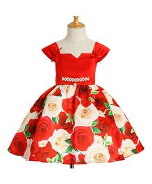 Pre Order - Awabox Flower Printed Flarry Dress - Red