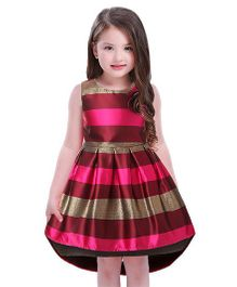 Pre Order - Awabox Striped Pattern Side Flower Dress - Red