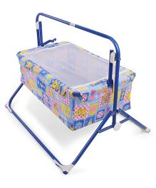 Mothertouch Wonder Cradle Cum Bassinet Teddy Print - Blue & Pink