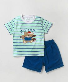 Child World Half Sleeves T-Shirt With Shorts Bear Patch - Clay Green & Blue