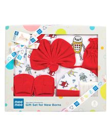Mee Mee Clothing Gift Set Robot Print Pack Of 8 - Red White