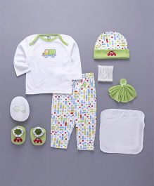 Mee Mee Clothing Gift Set of 8 Vehicle Patch - White Green