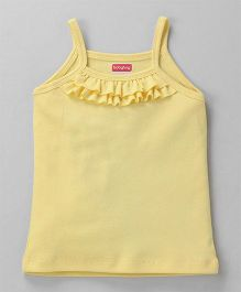 Babyhug Solid Colour Singlet Slip With Frill - Light Yellow