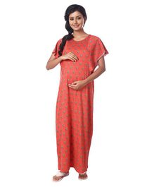 Kriti Sleeveless Maternity Nursing Nighty Dot Print - Coral
