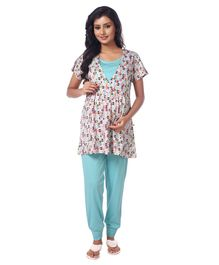 Kriti Nursing Wear Top & Bottom Night Set - Blue & White