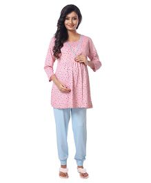 Kriti Three Fourth Sleeves Printed Nursing Night Suit Set - Peach