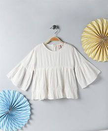 Kids On Board Bell Sleeves Tunic - Off White