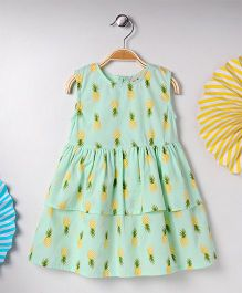 Kids On Board Pineapple Print Dress - Green