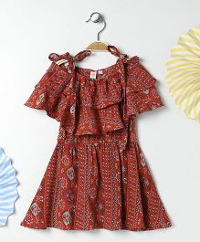 Kids On Board Cold Shoulder Dress With Frills - Brick Red