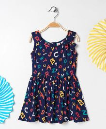 Kids On Board Abc Print Dress - Navy Blue