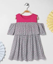 Kids On Board Flower Print Cold Shoulder Dress - Grey & Pink