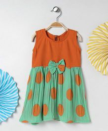 Kids On Board Polka Dots Dress - Orange
