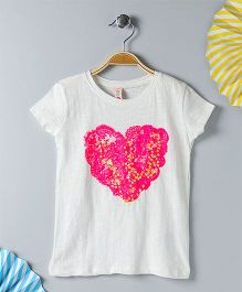 Kids On Board Heart Printed T-Shirt - White