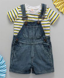 Kids On Board Dungaree With Stripe T-Shirt - White & Blue