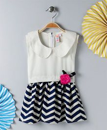 Kids On Board Chevron Print Dress - White & Navy