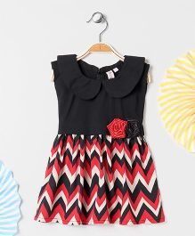 Kids On Board Chevron Print Dress With Roses - Red & Black