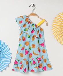 Kids On Board Fruits Print Dress - Blue
