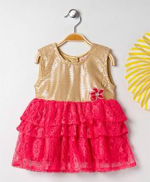 Kids On Board Ruffled Lace Dress - Pink & Golden