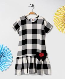 Kids On Board Check Dress With Flower - Black & Grey