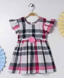 Kids On Board Check Dress With Flutter Sleeves - Pink & Grey